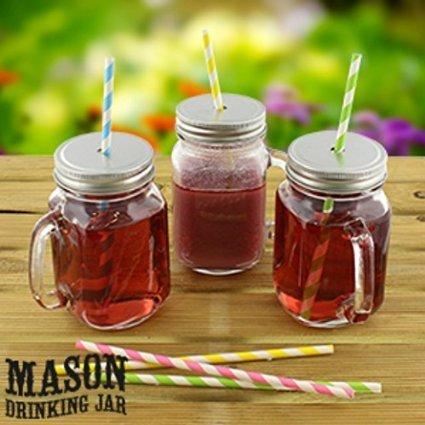 6 st ck trinkgl ser mason glas mit deckel ideal f r smoothies cocktails. Black Bedroom Furniture Sets. Home Design Ideas