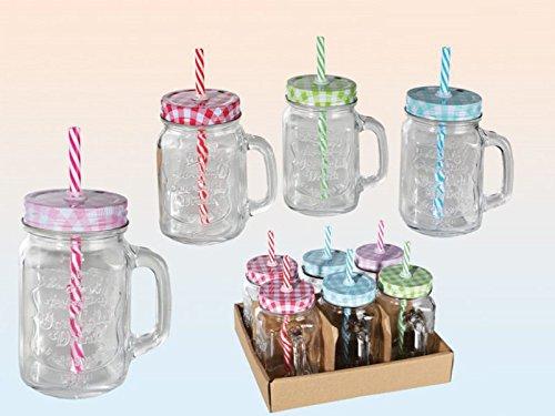 trinkglas mit henkel und farbigem deckel mit strohhalm einmachglas optik 500 ml 6 st ck. Black Bedroom Furniture Sets. Home Design Ideas