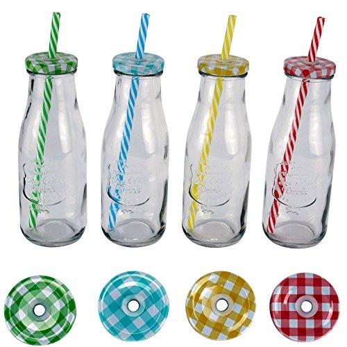 4 x insektenabwehr glas mit strohhalm deckel 420 ml ice cold drink bunt. Black Bedroom Furniture Sets. Home Design Ideas