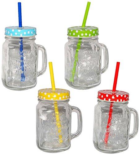 Henkelbecher - Glas mit Deckel & Strohhalm - bunte Farben ...